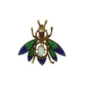 Vintage Opal Ruby 14k Yellow Gold Green & Blue Enamel Bee Brooch