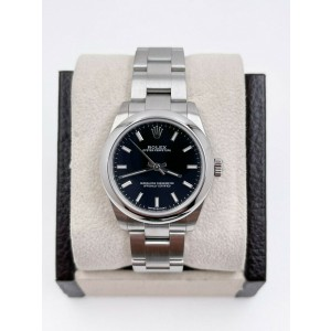 Rolex Oyster Perpetual 177200 Black Dial Stainless Steel 31mm Box Paper 2019