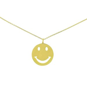 14k Yellow Gold Smiley Face Pendant Necklace