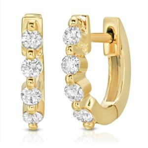 0.21 CT Diamonds in 14K Yellow Gold 10 mm Height Small Hoop Earrings