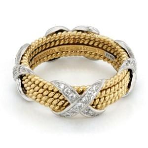 Tiffany & Co 18K Gold Platinum Schlumberger Diamond Rope Four Row X Ring S 10.5