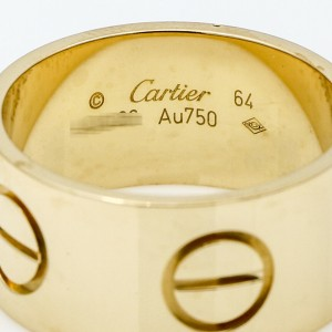 Cartier 11mm Wide Love Band Ring in 18k Yellow Gold B4227800 Size 64