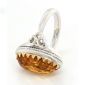Auth Gabriel & CO 925 Silver 18K Yellow Gold Diamonds & Citrine Ring Size 6.5
