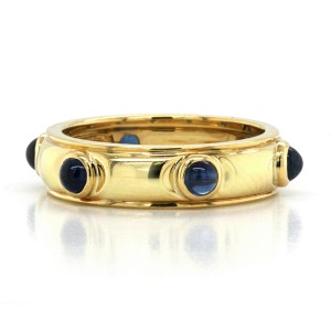 Tiffany & Co 18K Yellow Gold Cabochon Blue Sapphire Band Ring Size 6.5