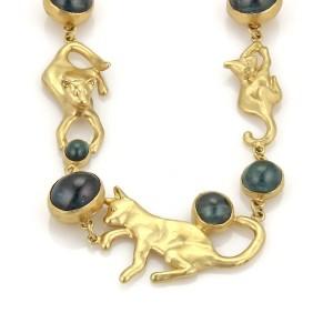 Peter Aylen Hand Made Indicolite Tourmaline 18k Yellow Gold Cats Necklace