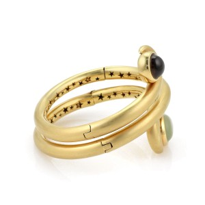 H. Stern Chalcedony & Smokey Quartz 18k Yellow Gold Hinged Wrap Bangle Bracelet