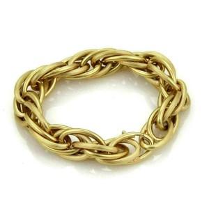 Large 18k Yellow Gold Multi Oval Grooved Links Bracelet