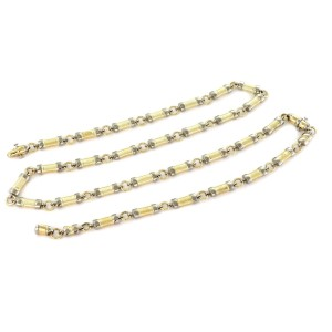 Fancy Bar Link Convertible Necklace Bracelet 14k Two Tone Gold Set