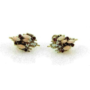 George Weil Diamond & Gems 18k Yellow Gold Platinum Post Clip Earrings