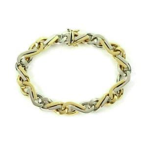 Fancy Infinity Links Chain 14k Two Tone  Bracelet