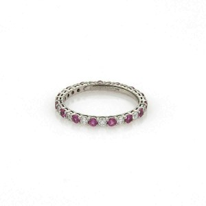 Tiffany & Co. Embrace Diamond Pink Sapphire Platinum Eternity Band Ring