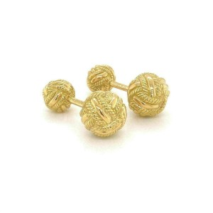 Tiffany & Co. Schlumberger 18k Yellow Gold Double Woven Knot Cufflinks