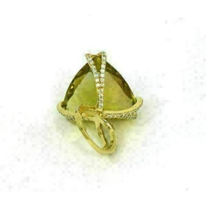 Massive 18k Yellow Gold 2.00ct Lime Quartz & Diamond Ring