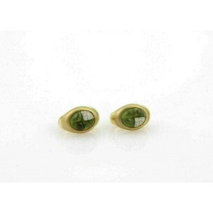 Pomellato Diamond & Green Tourmaline 18k Yellow Gold Post Clip Earrings