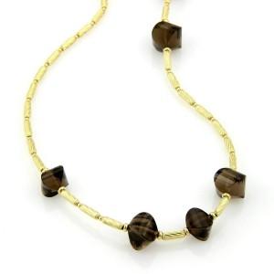 David Yurman Smokey Quartz 18k Yellow Gold Cable Toggle Necklace