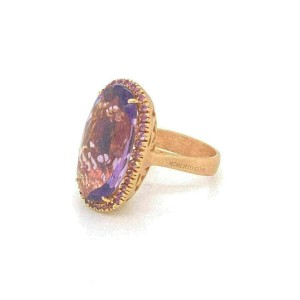 Roberto Coin Amethyst 18k Rose Gold Large Oval Ring