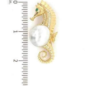 Diamond Emerald Pearl 18k Yellow Gold Seahorse Brooch/Pendant & Chain