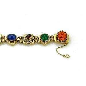Multicolor Gemstone 14k Yellow Gold 8 Slide Charms Bracelet