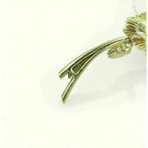 Diamond Floral 14k Yellow Gold Cluster Large Leaf Brooch Pin