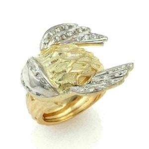 Illias Lalaounis Greek Diamond Fish 18k Yellow Gold Ring
