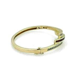 Diamond & Ruby 14k Yellow Gold Curved Bangle Bracelet