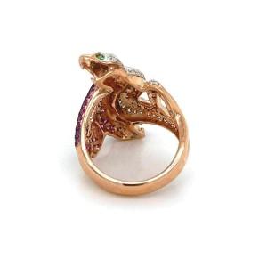 Diamond Ruby & Green Garnet  18k Two Tone Gold Two Snake Ring