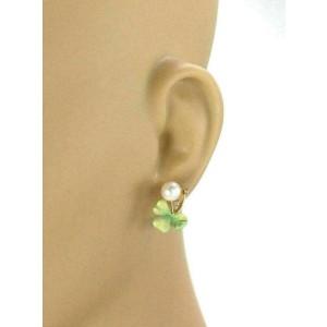 Masriera 18k Yellow Gold Diamond Pearls & Enamel Clover Leaf Non Pierce Earrings