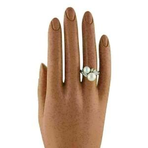 Mikimoto Diamond Akoya Pearls Platinum 18k Yellow Gold Bypass Ring