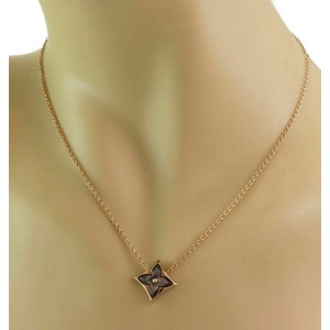 Louis Vuitton Blossom Grey MOP 18k Pink Gold Monogram Pendant Necklace