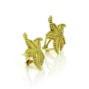 Tiffany & Co. 18k Yellow Gold Textured Starfish Post Clip Earrings