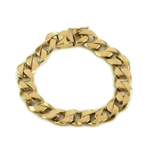 Classic 14k Yellow Gold 10.5mm Wide Curb Link Chain Bracelet