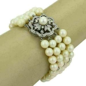 Estate Diamonds Four Strand Pearl Bracelet & 14k White Gold Clasp