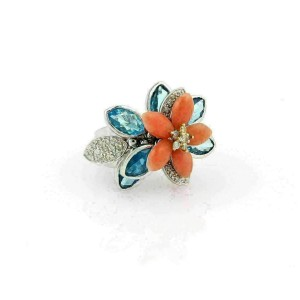 Diamond Coral & Topaz Movable Floral 18k White Gold Ring