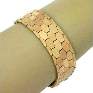 Estate 18k Rose Gold Octagonal Design 19mm Wide Flex Bracelet