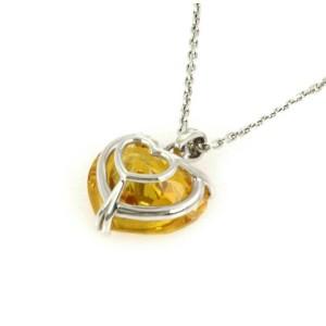 Chopard Happy Diamond Yellow Stone Heart 18k White Gold Pendant w/Cert