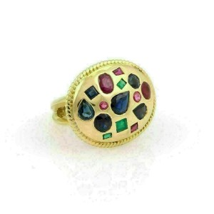 Elegant 18k Yellow Gold 3.00ct Sapphire Ruby & Emerald Cigar Ring-Size 6.5