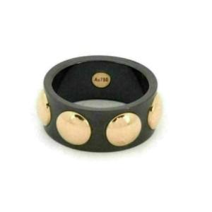 Louis Vuitton Grand Berg Clous Black Ceramic 18k Rose Gold Dot Band Ring Size 62