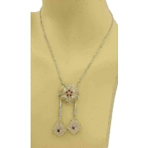 Art Deco Diamond & Gems 18k Two Tone Gold Frosted Crystal Fancy Necklace