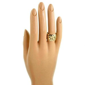 Louis Vuitton Monogram Gallea 18k Gold Open Wide Dome Band Ring Size 53