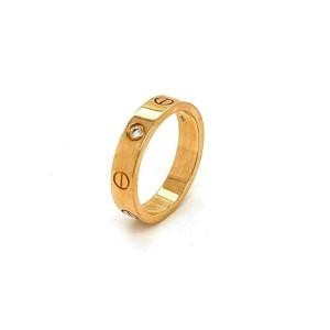 Cartier Mini Love 1 Diamond 18k Yellow Gold 4mm Band Ring Size 51 w/Cert