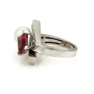 Koeisa 3.33ct Diamond Pink Tourmaline & Pearl 18k Gold Ring
