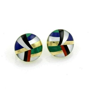Asch Grossbardt Inlaid Gemstones 18k Yellow Gold Round Post Clip Earrings