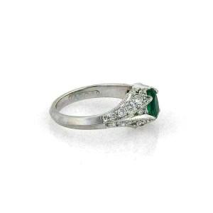 Tacori Emerald Diamond & Platinum Solitaire Ring