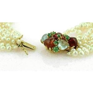 Multi Strand Baroque Pearls & Multi Gems 14k Yellow Gold Choker Necklace