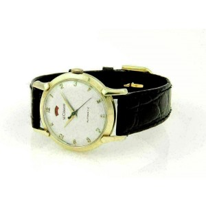 Vintage Le Coultre Automatic Men's 14k Gold & Leather Band Wrist Watch