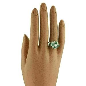 1.40ct Diamond & Emerald 14k White Gold Cluster Ring