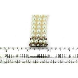 Vintage 7mm Pearls Pink Sapphire 18k White Gold Triple Strand Bracelet