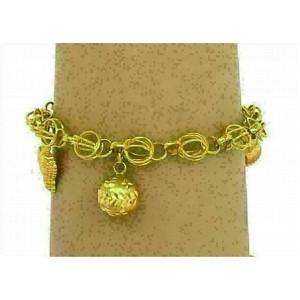 21k Gold Dangling Charms Bracelet