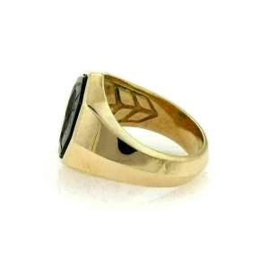 David Yurman Onyx Intaglio 18k Yellow Gold Octagon Ring