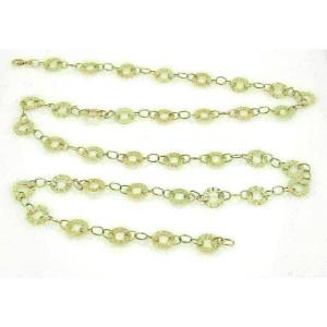 "Estate Open Circle Long 14k Yellow Gold Textured Necklace 40"" Long"